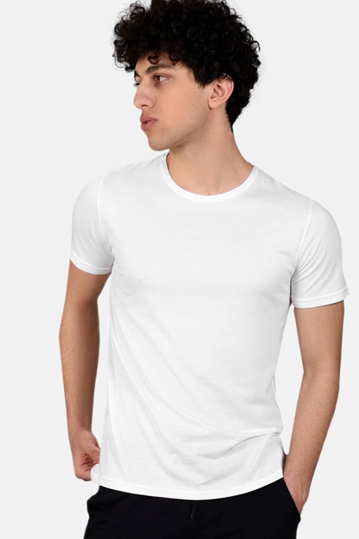 Malabadi Erkek Siyah Alt Beyaz Üst Yuvarlak Yaka Yazlık Pijama Takımı M564