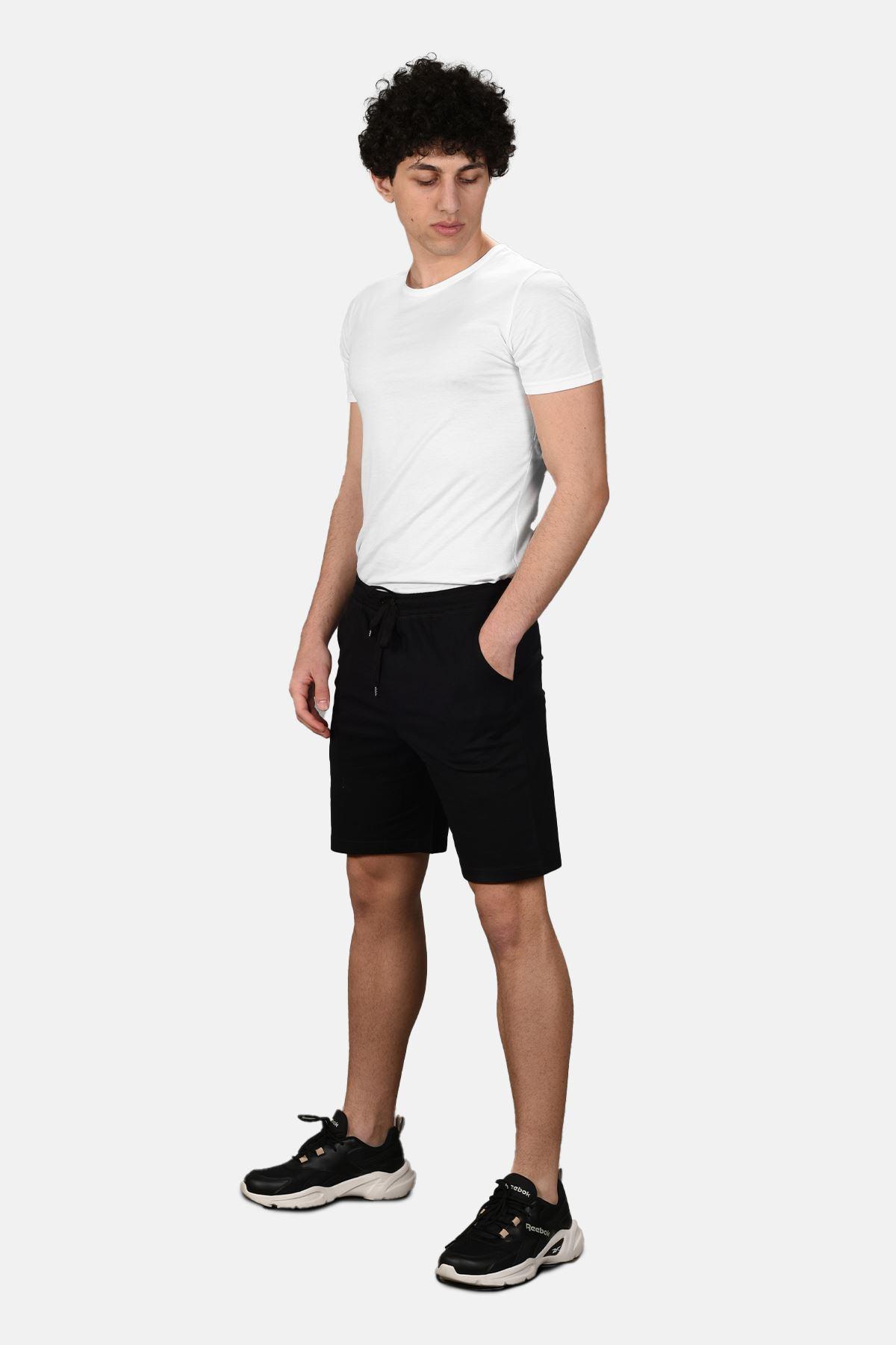 Malabadi Erkek Siyah Alt Beyaz Üst Yuvarlak Yaka Şortlu Pijama Takımı M565