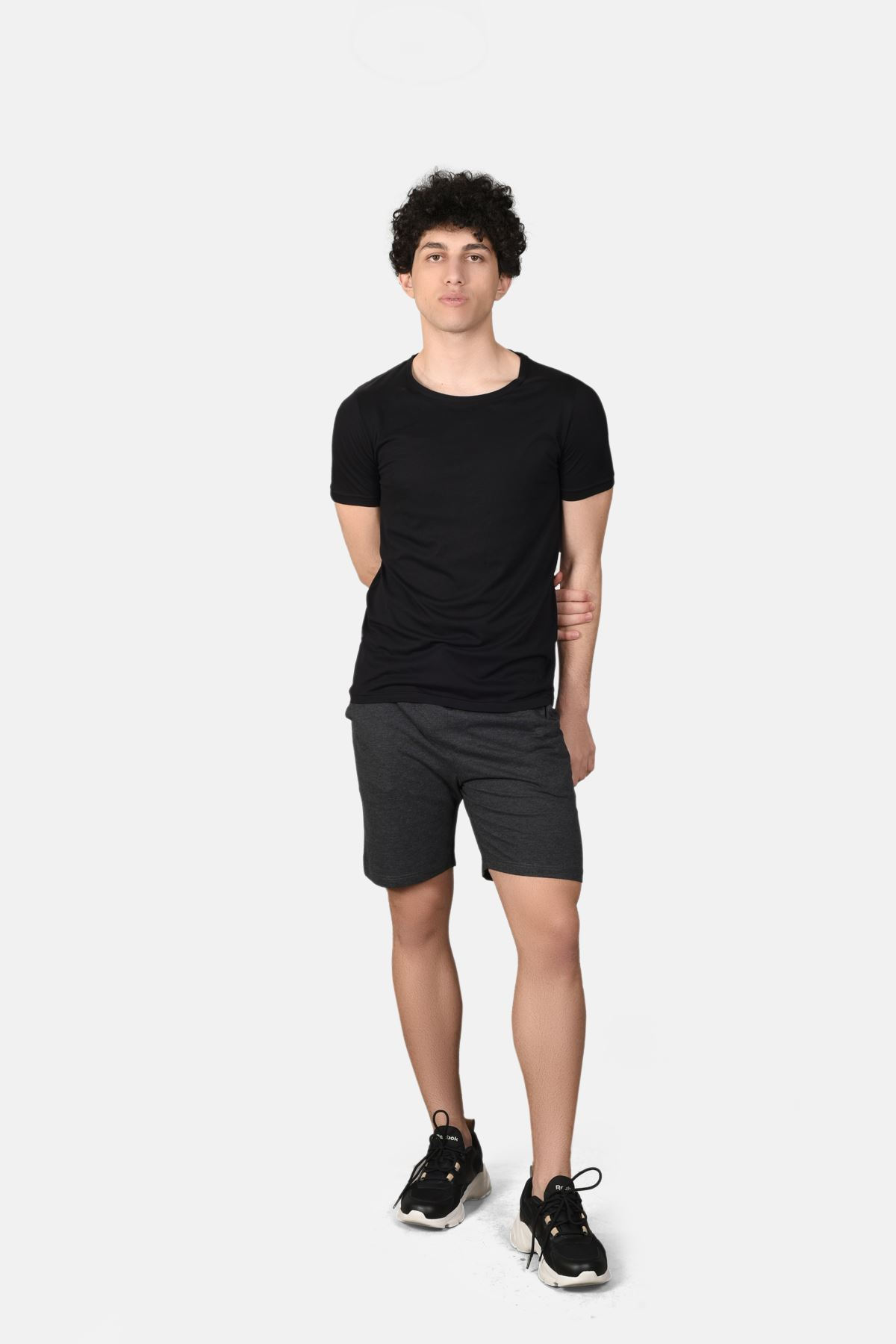 Malabadi Erkek Antrasit Alt Siyah Üst Yuvarlak Yaka Şortlu Pijama Takımı M565