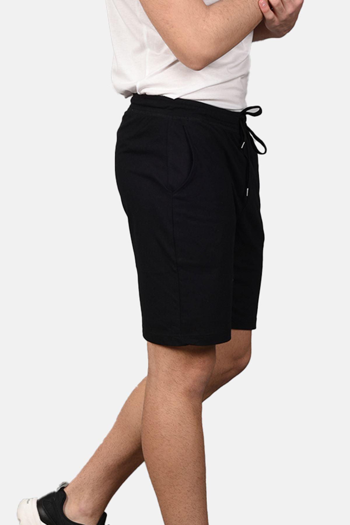 Malabadi Erkek Siyah Alt Siyah Üst Yuvarlak Yaka Şortlu Pijama Takımı M565