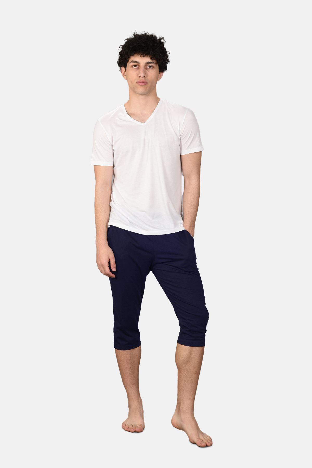 Malabadi Erkek Lacivert Alt Beyaz Üst V Yaka Kapri Pijama Takımı M566