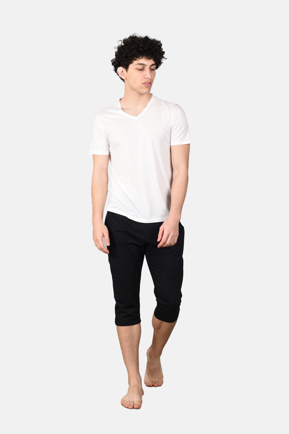 Malabadi Erkek Siyah Alt Beyaz Üst V Yaka Kapri Pijama Takımı M566