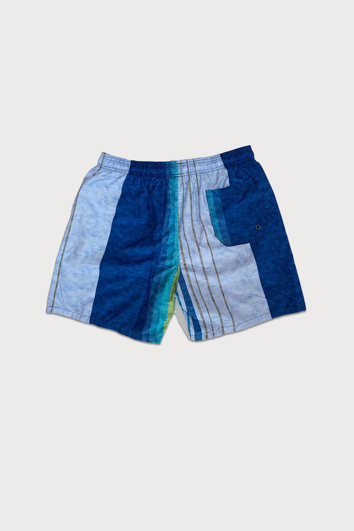 Malabadi Erkek Mavi Yeşil Çizgili Deniz Şortu MLB581