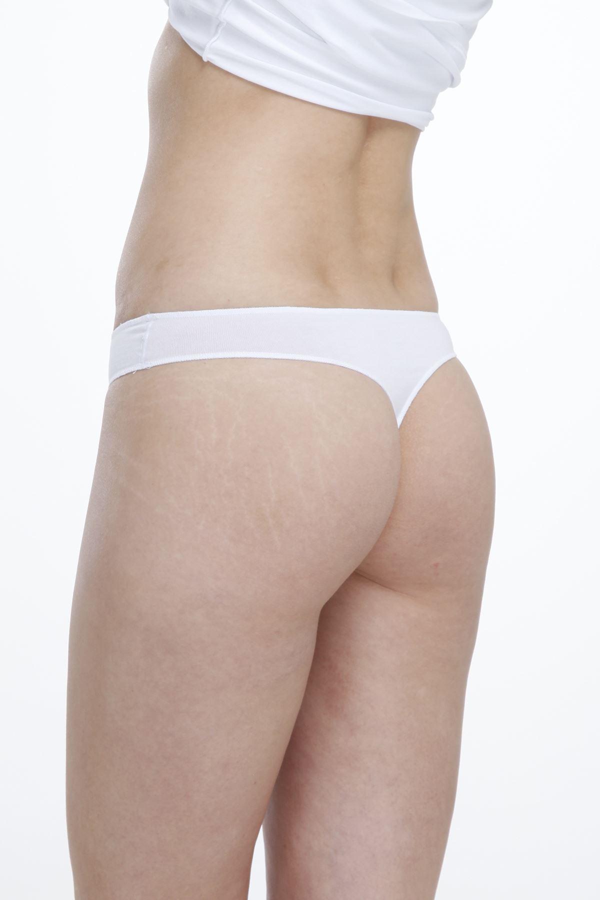 Beyaz Kadın Düşük Bel String Modal Slip 186