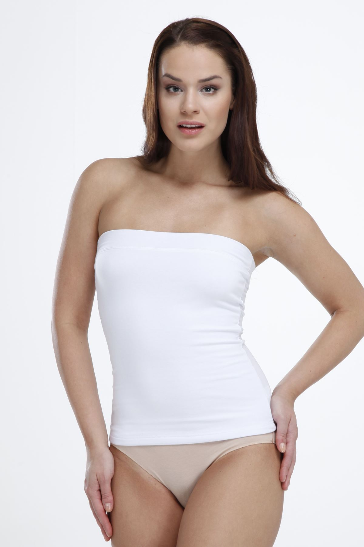 Beyaz Kadın Straplez Modal Body 1036