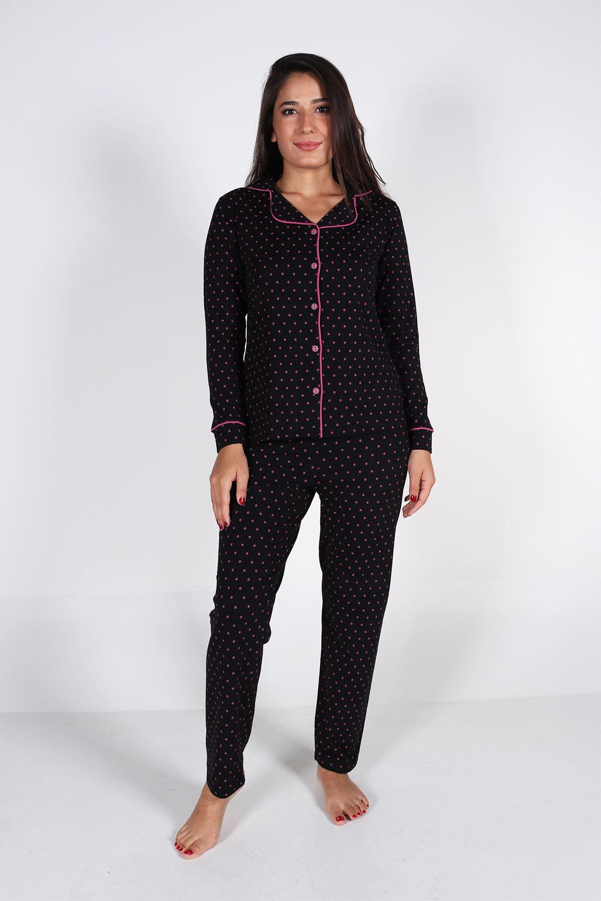 Malabadi Kadın Siyah Puantiyeli Düğmeli Uzun Kol Pijama Takımı 5007