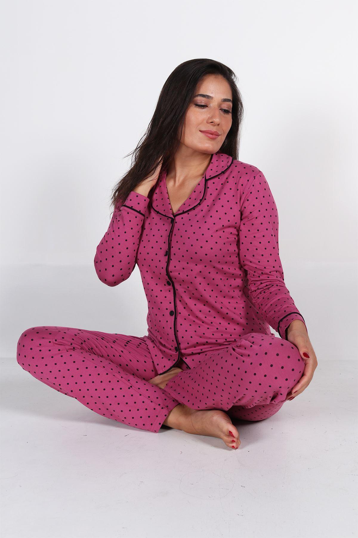 Malabadi Kadın Gül Kurusu Puantiyeli Düğmeli Uzun Kol Pijama Takımı 5007