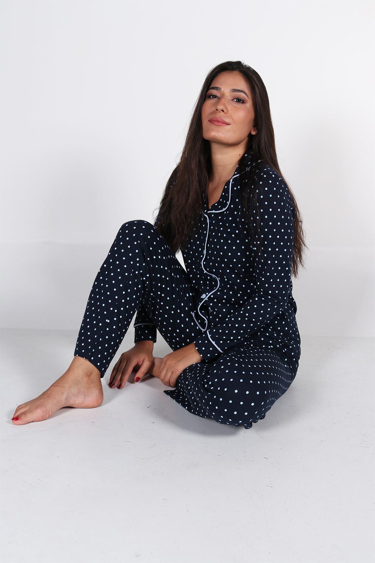 Malabadi Kadın Lacivert Puantiyeli Düğmeli Uzun Kol Pijama Takımı 5007