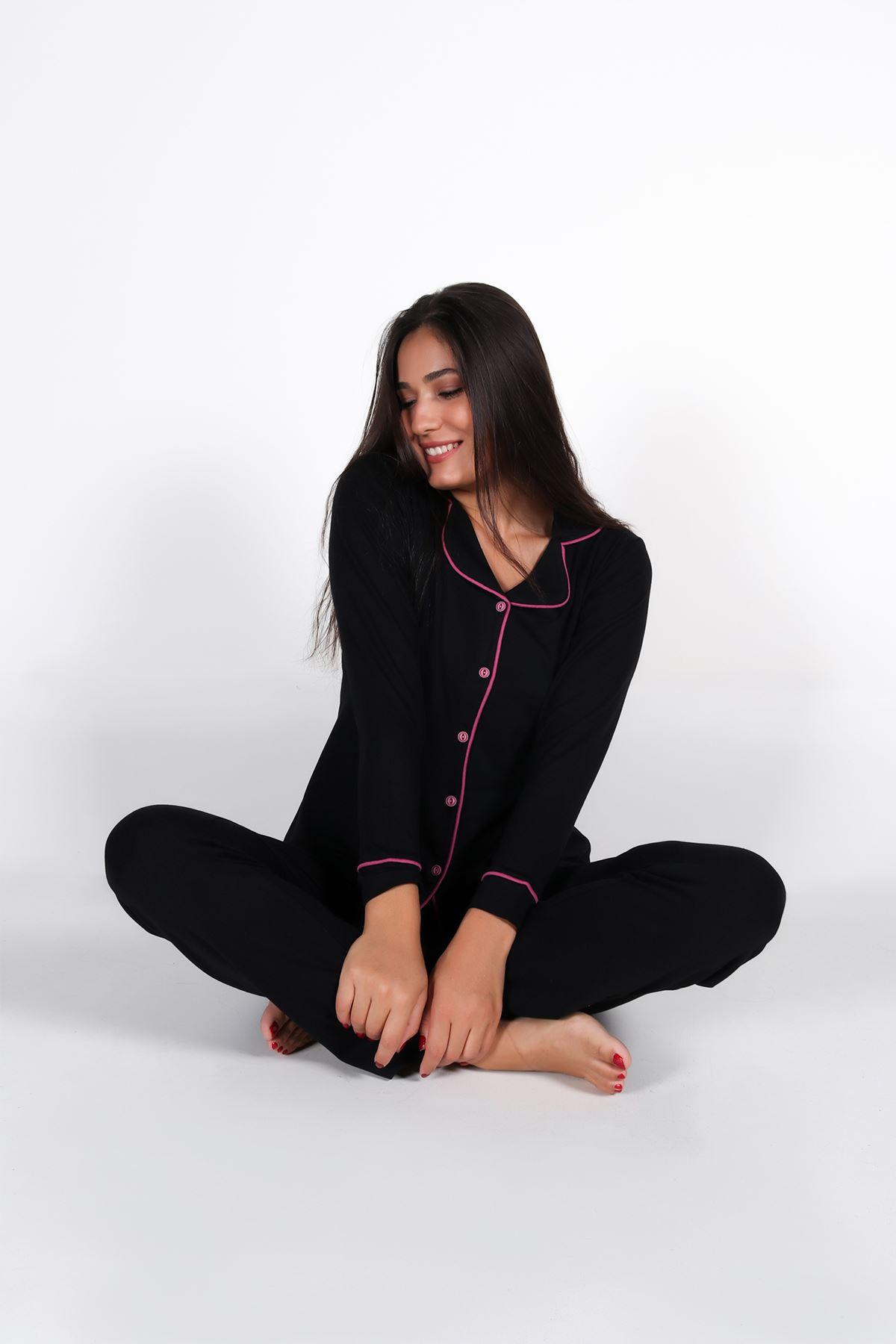 Malabadi Kadın Siyah Düğmeli Uzun Kol Pijama Takımı 5008