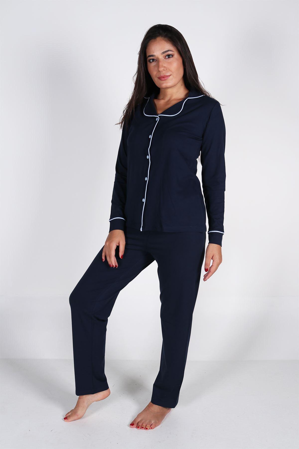 Malabadi Kadın Lacivert Düğmeli Uzun Kol Pijama Takımı 5008